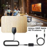 טלוויזיה אנטנה booster מגבר טלוויזיה אנטנה טלוויזיה אנטנה 200 Mile דיגיטלי HD בצבע עץ מקורה עם Booster מגבר אות HD HDTV DVB טלוויזיה בכבלים UHF VHF DTV (2)