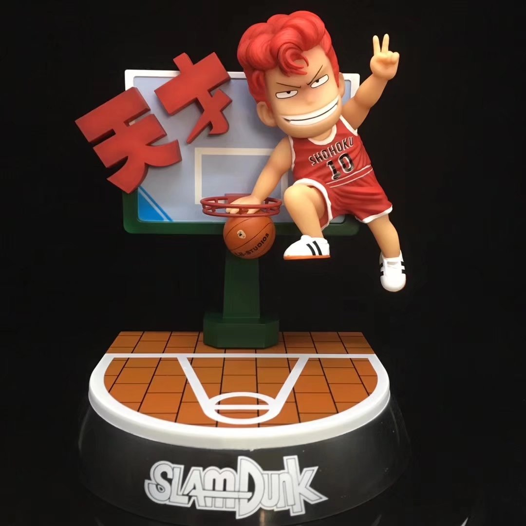 22CM Japanese anime figure SLAM DUNK Hanamichi Sakuragi Q version action figure collectible model toys for boys 22cm japanese version macross f 30th anniversary commemorative edition ranka lee pvc action figure gift for boys
