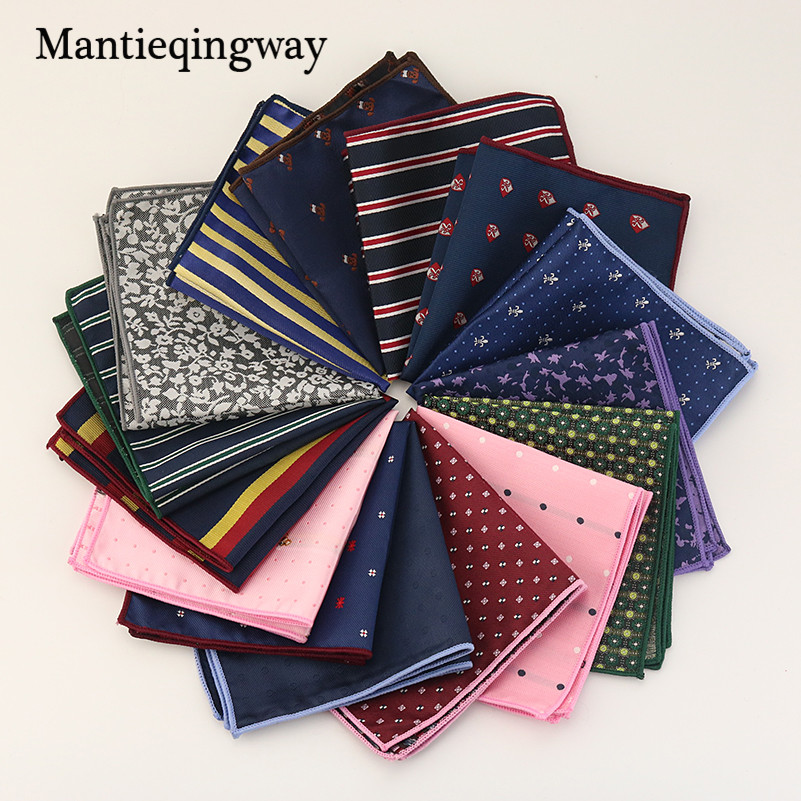 Mantieqingway Floral & Striped Handkerchiefs Wedding Polyester Silk Pocket Square Pocket Towel For Mens Suits 24cm Women Hanky