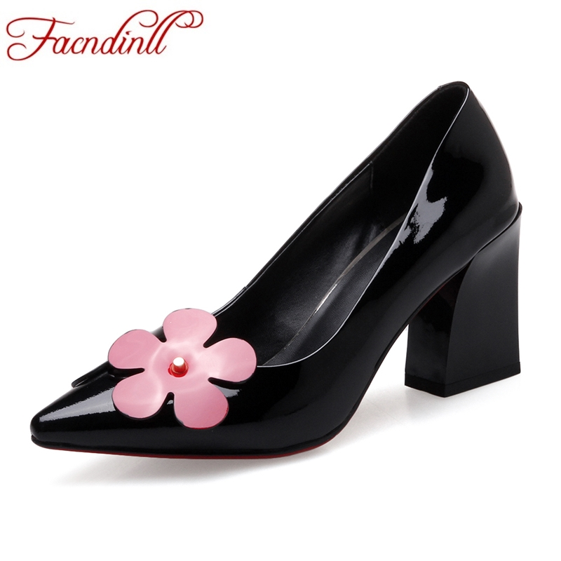 FACNDINLL genuine leather women pumps new fashion  square high heels pointed toe shoes woman dress party wedding shoes black red new spring summer women pumps fashion pointed toe high heels shoes woman party wedding ladies shoes leopard pu leather