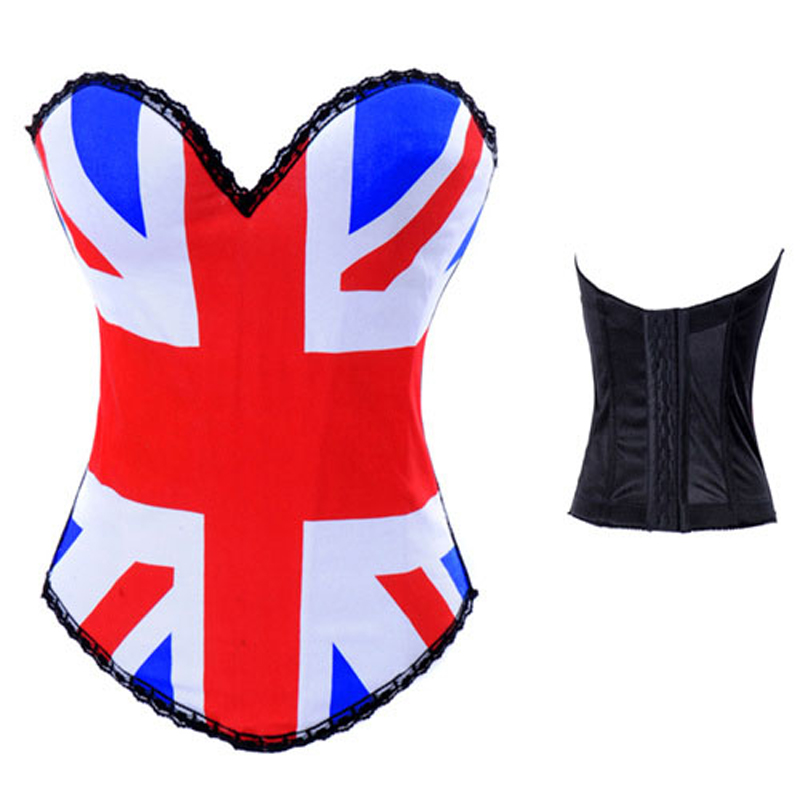 UK Flag Pattern Print Punk   Corset   Cotton Push Up Bra Top Overbust Burlesque   Bustier   Sexy Gothic Espartilhos Steampunk Corselet