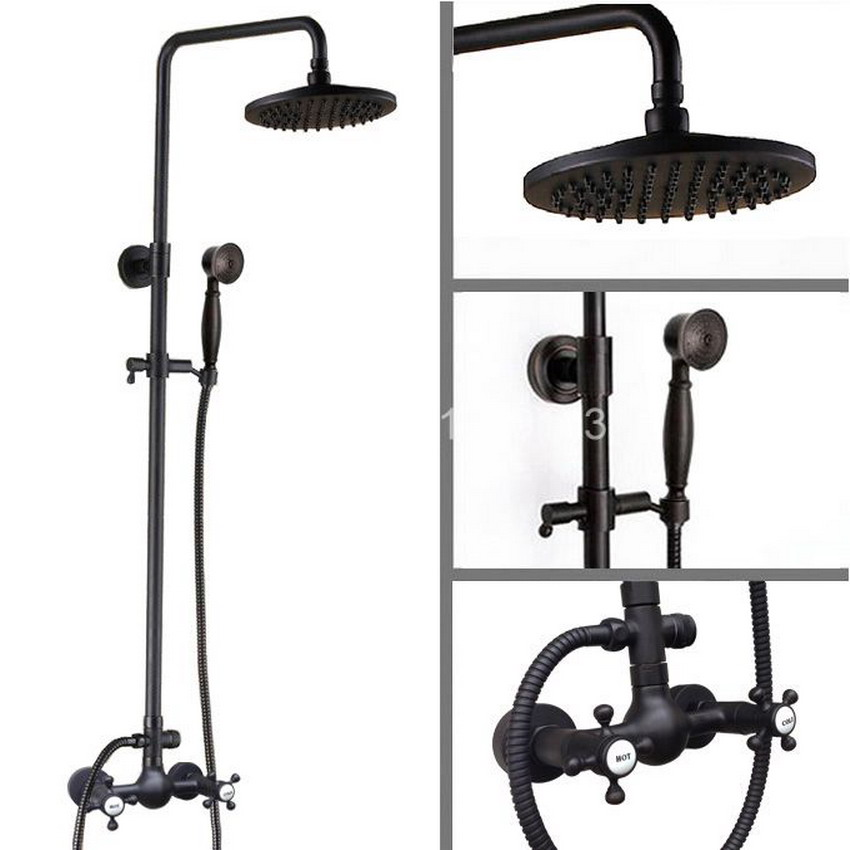8 inch shower Head Oil Rubbed Bronze 2 Cross Handles Wall Mounted Bathroom Rain Shower Faucet Set Mixer Tap ars493
