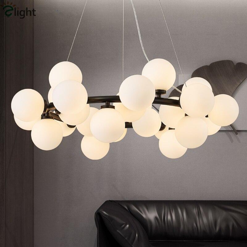 Круглый 25 светильник стеклянные шары светодиодная люстра Блеск латунная Подвеска Люстра светильник ing G4 лампа для внутреннего освещения