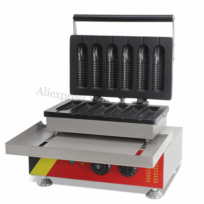 Commercial Corn Hot Dog Waffle Machine Stainless Steel Sausage Lolly Waffle Machine 6pcs in One Tray 220V 110V stainless steel waffle hot dog machine corn waffle baker
