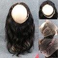 Nuevo Estilo 13x4 Onda Del Cuerpo 360 de Encaje Banda Frontal Frontales espalda con elástico Cierre Frontal Del Cordón Rayita Natural con el Bebé pelo