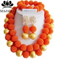Trendy Nigeria Wedding african beads jewelry set orange plastic necklace bracelet earrings Free shipping G-158