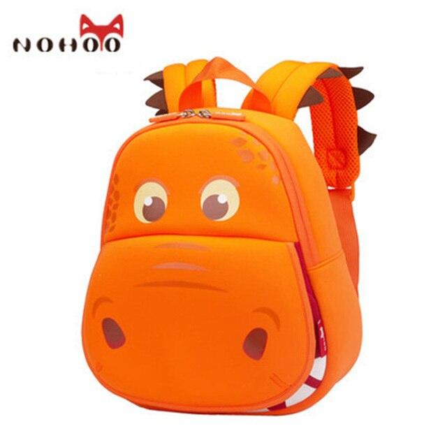 NOHOO Hippo Kids Backpack Cartoon School Bags Waterproof 3D Rucksack  Neoprene Orange Green For Girls Boys Children 2-7 Age -15