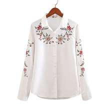 Autumn White and Striped Embroidered Female Casual Shirts Flower Pattern Long sleeves Square Collar Women Blouses Ladies Tops