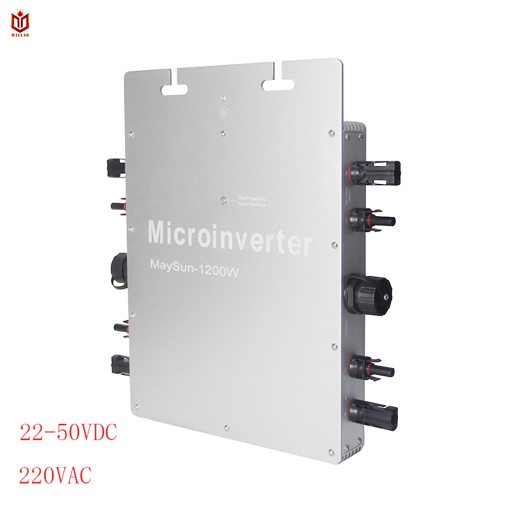 MAYLAR@ Waterproof WVC Maysun1200W 22-50VDC Solar on grid tie micro inverter with 4 MPPT Function 2 Meters Cable Solar ConverterMAYLAR@ Waterproof WVC Maysun1200W 22-50VDC Solar on grid tie micro inverter with 4 MPPT Function 2 Meters Cable Solar Converter