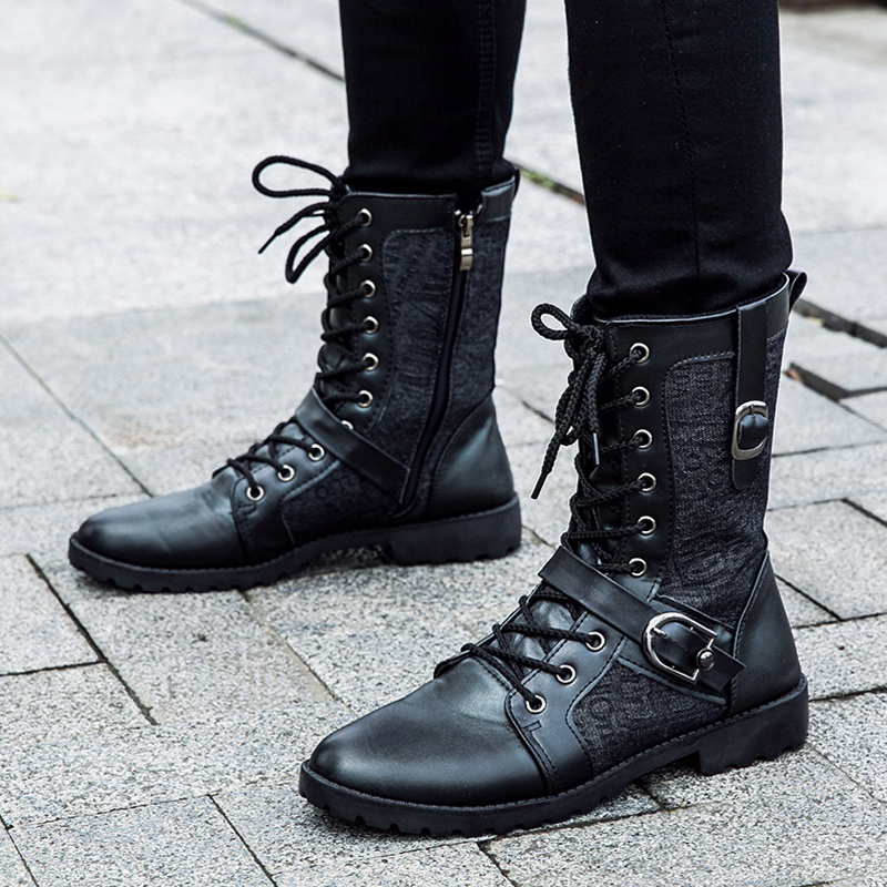 98ef29520ad US $23.45 49% OFF|Tangnest Autumn Punk Boots Men Fashion PU Leather Lace up  Motorcycle Boots Black Vintage High Top Buckle Shoes Man XMX516-in ...