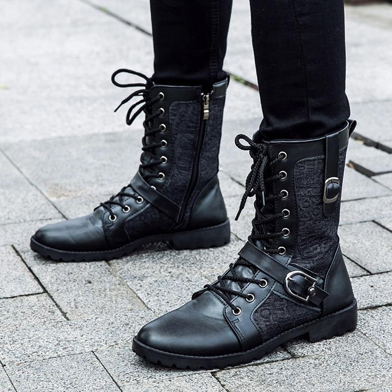 Tangnest Sonbahar Punk Çizmeler Erkekler Moda PU Deri Dantel-up - Erkek Ayakkabıları - Fotoğraf 4
