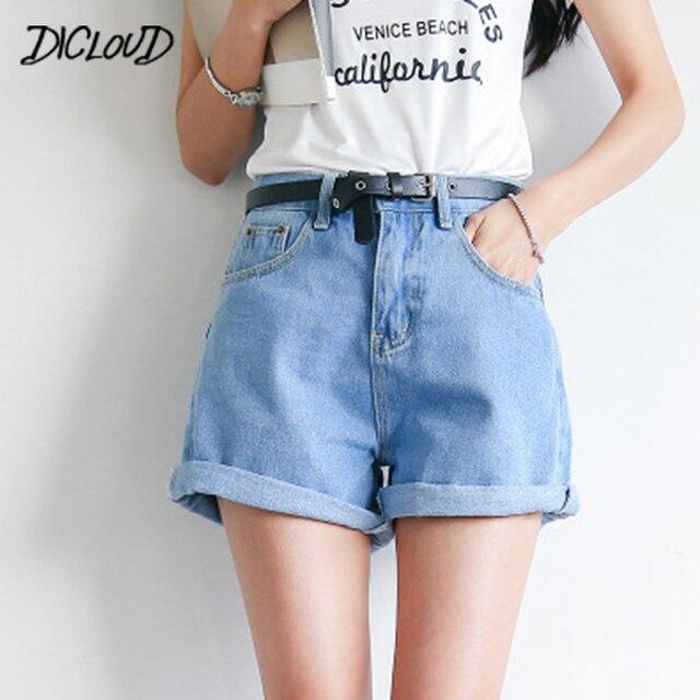 DICLOUD solidna damska odzież spodenki jeansowe Harajuku lato wysokiej talii dżinsy Slim krótkie spodnie Feminino mankiety dżinsy prezent 2XL