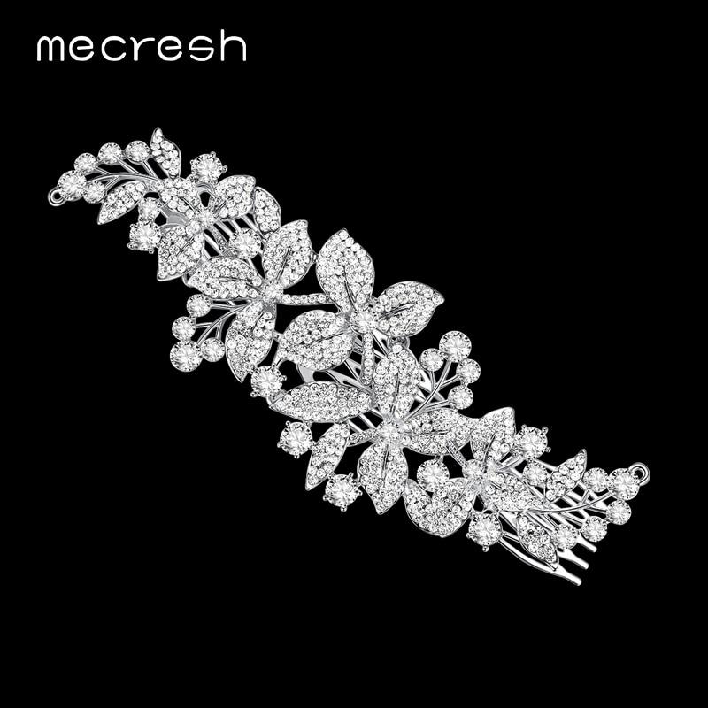 Mecresh Nova Floral Cristal Pentes De Cabelo de Noiva Tiara de Strass Cor Prata Grampos de cabelo Penteado Do Cabelo Do Casamento Jóias Presente FS044
