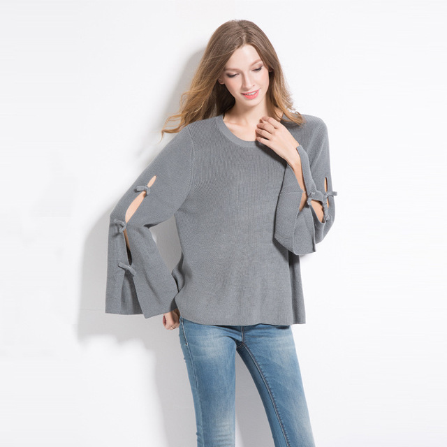 2018 Pullovers Sweaters Womens Knit Hollow Fashion Oversize Loose Cute  Sweater Girls Knitted Korean Flare Sleeve a8857709058b
