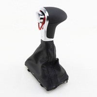 TAIHONGYU Leather Chrome AT Automatic Shifter Boot Gear Shift Knob for Audi A3 A4 A5 A6