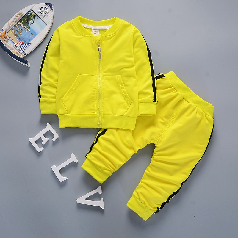Spring Autumn Baby Boys Girls Cotton Pocket Sport Set Jacket+Pants 2pcs//Sets Tracksuit Toddler Clothing Set Outfits