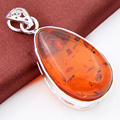 2 Pieces 1 Lot New Cheap Wholesale Silver Plated Jewelry Fire Created Amber Crystal Wedding Cross Pendants Necklace p0366