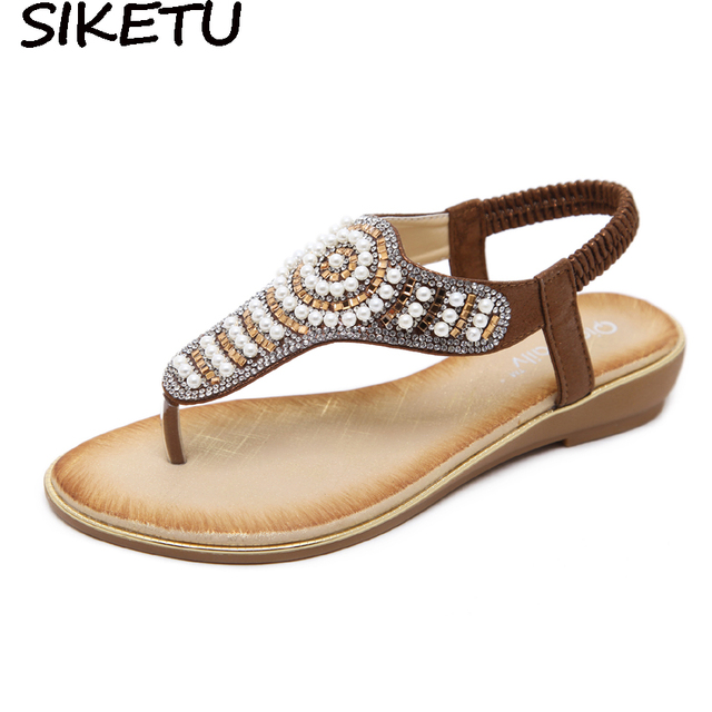 SIKETU Rhinestone Crystal Sandals Ethnic Faux Pearl String Bead Bohemian  Boho Shoes 2018 Summer Fashion Flat Heels Plus Size 7d35d4d9c2e8