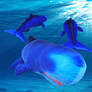 Fancytrader Simulated Sperm Whale Stuffed Toy Plush Soft Animal Sea Fish Blue Whales Doll Nice Kids Gift  80cm X 31cm