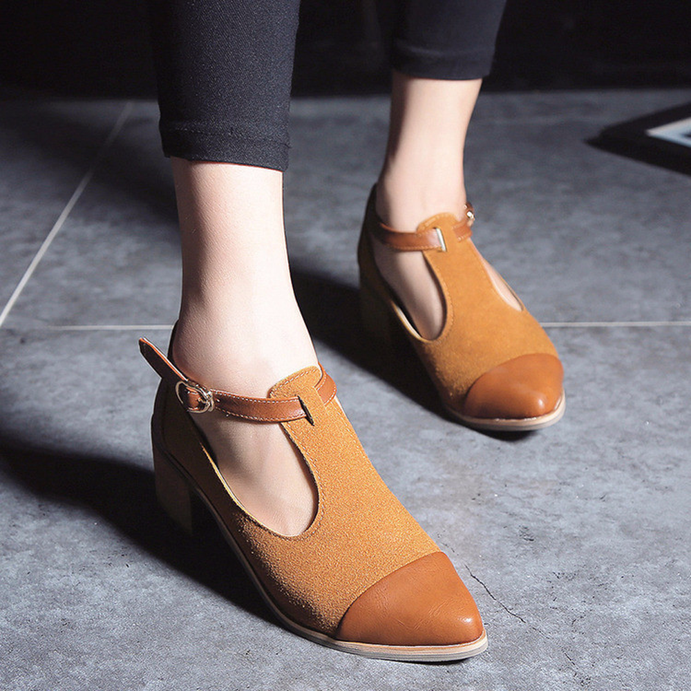Women Pointed Toe Oxfords British Style Low Heels Patchwork Buckle Oxford Shoes Casual Vintage Shoes hee grand pointed toe pumps british style med heels patchwork t strap oxfords shoes woman casual vintage pump shoes xwd2469