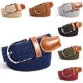Men Women 31 Colors Canvas Plain Webbing Metal Buckle Woven Stretch Waist Belt