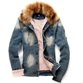 Men's denim clothing jacket Men's fall and winter clothes men's denim jacket fur collar lamb's wool liner thick padded jacket