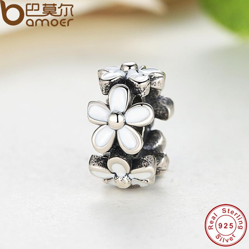 Darling Daisy Spacer, White Enamel Lovely Warm Gift Charms Fit  Original Bracelet necklace Pure 925 Silver Beads PAS144