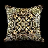 Classical European Style Pillow Royal Velvet Yellow Black Leopard Print Luxury Backrest Lazyback Pillow Case Home