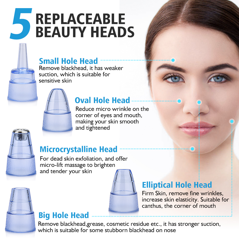Human - Blackhead Remover Vacuum Pore Cleaner Electric Nose Face Deep Cleansing Skin Care Machine