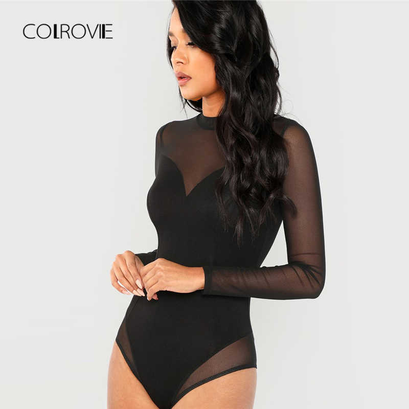 3fa7a73c891 ... COLROVIE Black Solid Mock Neck Mesh Panel Skinny Sexy Bodysuit Women  Autumn Long Sleeve Office Female ...