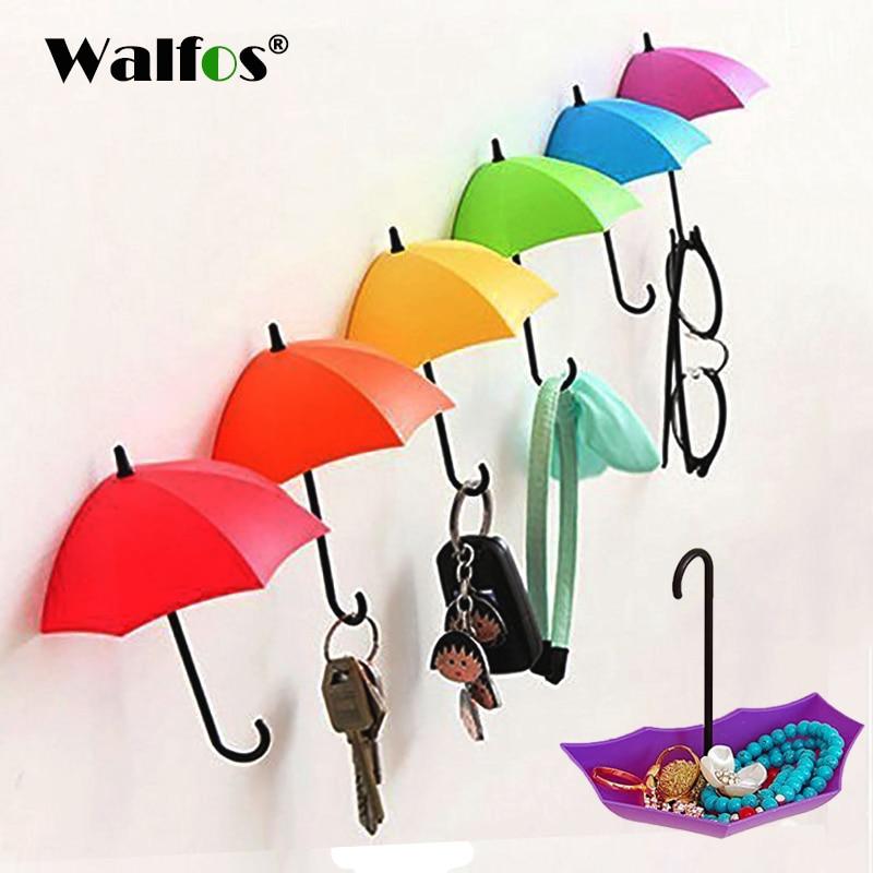 WALFOS 3 Piece Colorful Umbrella Wall Hook Key Glasses Wallet Hair Pin Holder Organizer Decorative Wall Decor Home Decoration