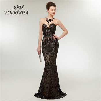 Fashion Trumpet Mermaid Evening Dress O-neck Sexy llusion Lace Sequin Appliqu Hollow Out open neck Prom Dress Party Gowns zipper