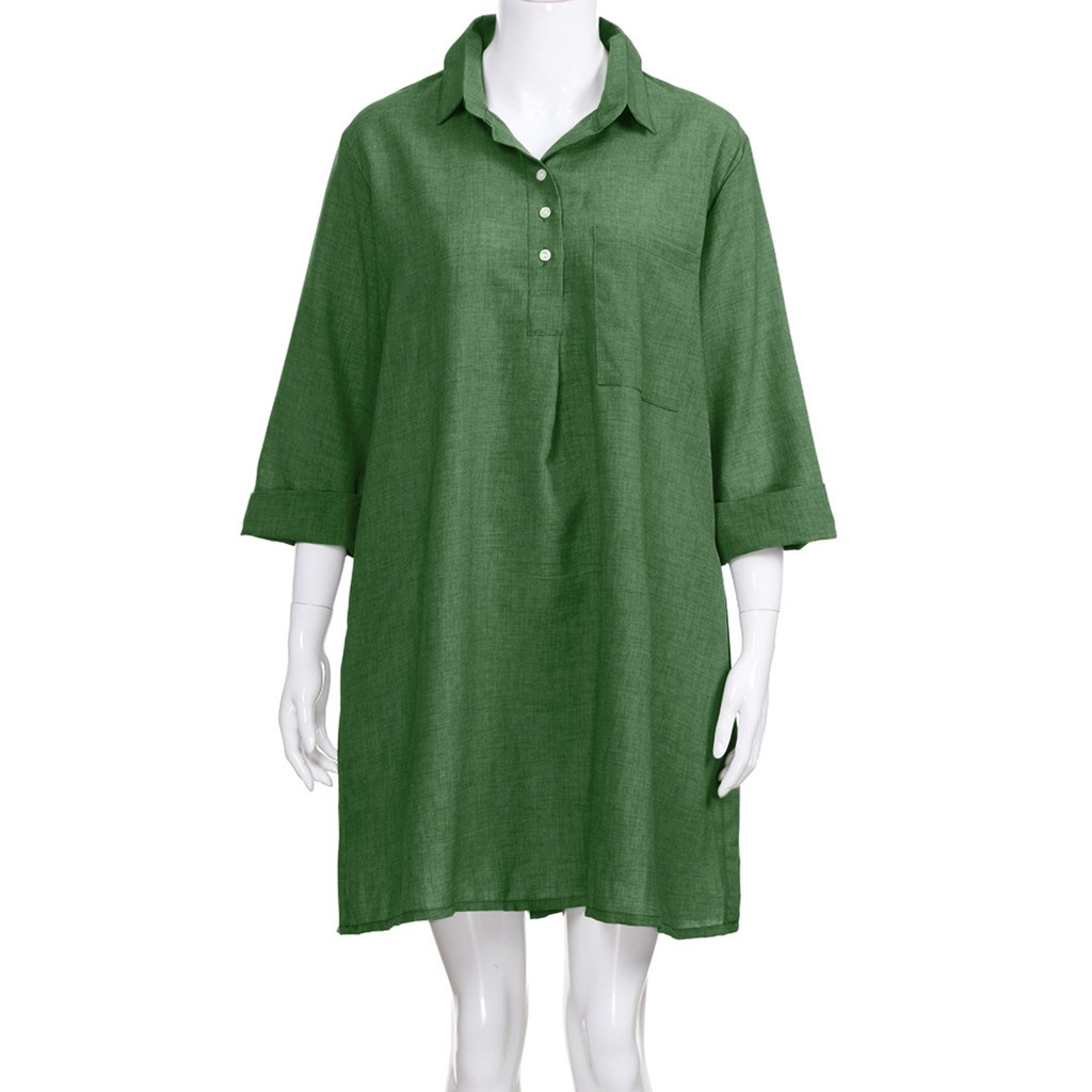 HTB1AeMgbdzvK1RkSnfoq6zMwVXaC Large Plus Size !!Best Sale 2019 Women's Solid Boho Turn-down Collar Dress 3/4 Sleeve Casual Pocket Button Dress Vestido @6