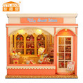 24th Wooden Dolls house Handcraft Miniatures DIY Kit - Voice control LED Light turn on/off & Music box Many cake Model