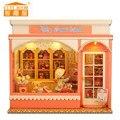 Vigésimo quarto Miniaturas de Bonecas De Madeira casa Artesanato DIY Kit-Voz controle CONDUZIU a Luz ligar/off & Music box Muitas bolo modelo
