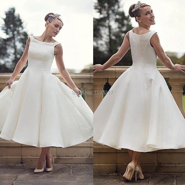 Short Plus Size Wedding Dresses 2015 Cheap Simple Stain Bridal Gown