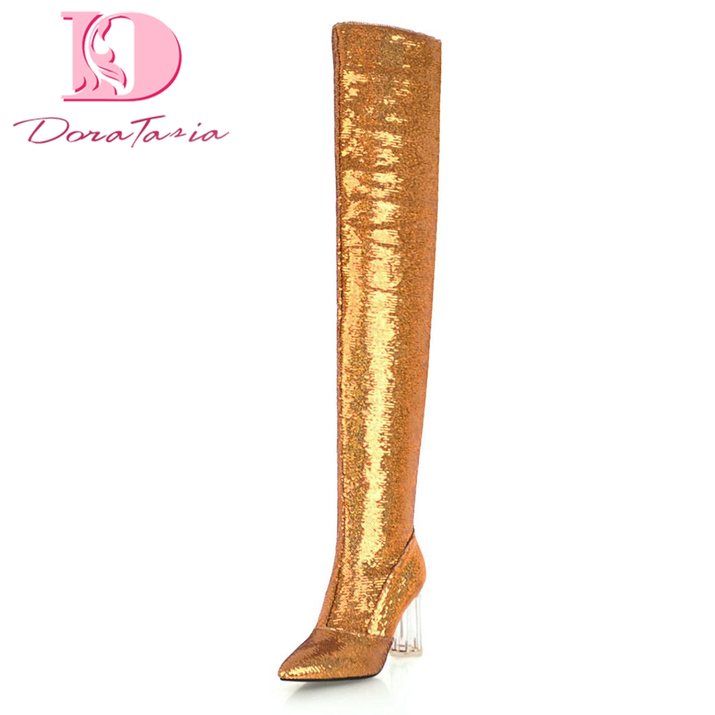 Doratasia 2018 Sequin cloth Large Size 32-43 2018 Fashion women Boots Shoes Woman high Heels Over The Knee Boots Woman Shoes doratasia 2018 large size 34 43 chunky heels women boots shoes slip on over the knee high boots leisure fashion shoes woman