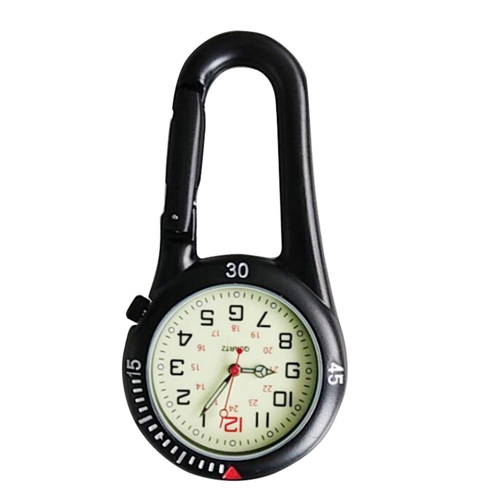 Outdoor Mini Round Dial Arabic Numbers Quartz Analog Clip Carabiner Hook Watch pocket watch watch Vintage watch hanging watch