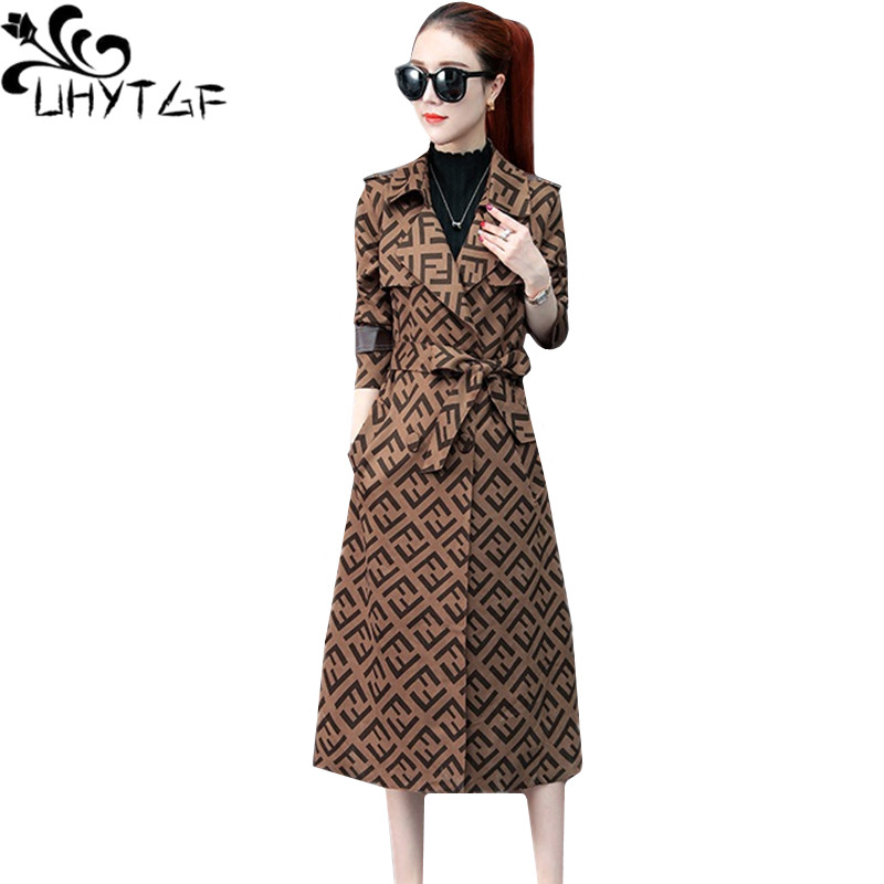 UHYTGF Young women's spring autumn   trench   coat New Korean fashion Plaid long coat woman Belt slim women's windbreaker coats 1416