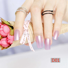 24pcs Hot sell fashion Long section Square head candy false nails decoration pearl purple D01