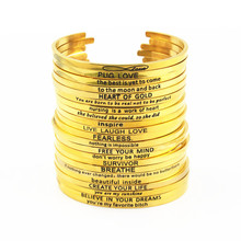 Gold Stainless Steel Engraved Positive Inspirational Quote Cuff Bangles Mantra Bracelet Bangle for women gift(China)