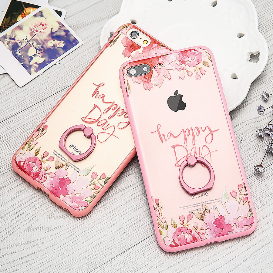 Fashion DIY Flower Case For iphone 7 6 6s Plus Funda Elegant Lady Style Floral Pattern Hard PC Cover Shell With Ring Kickstand