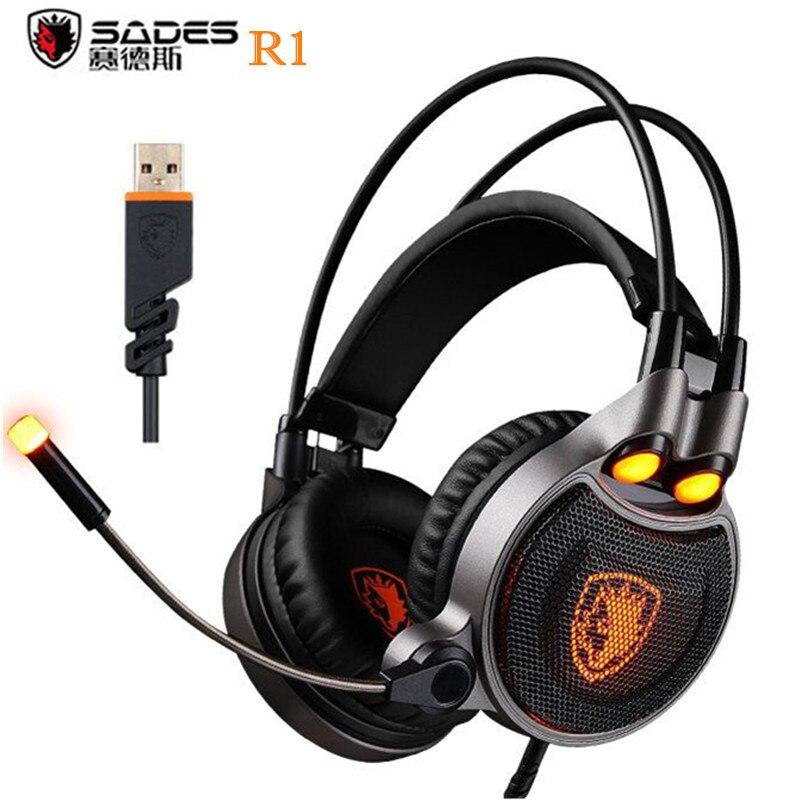 Sades R1 USB 7.1 Surround Stereo Suono Vibrazione di Gioco Della Cuffia Con  Microfono Led PC 17026e8e2089