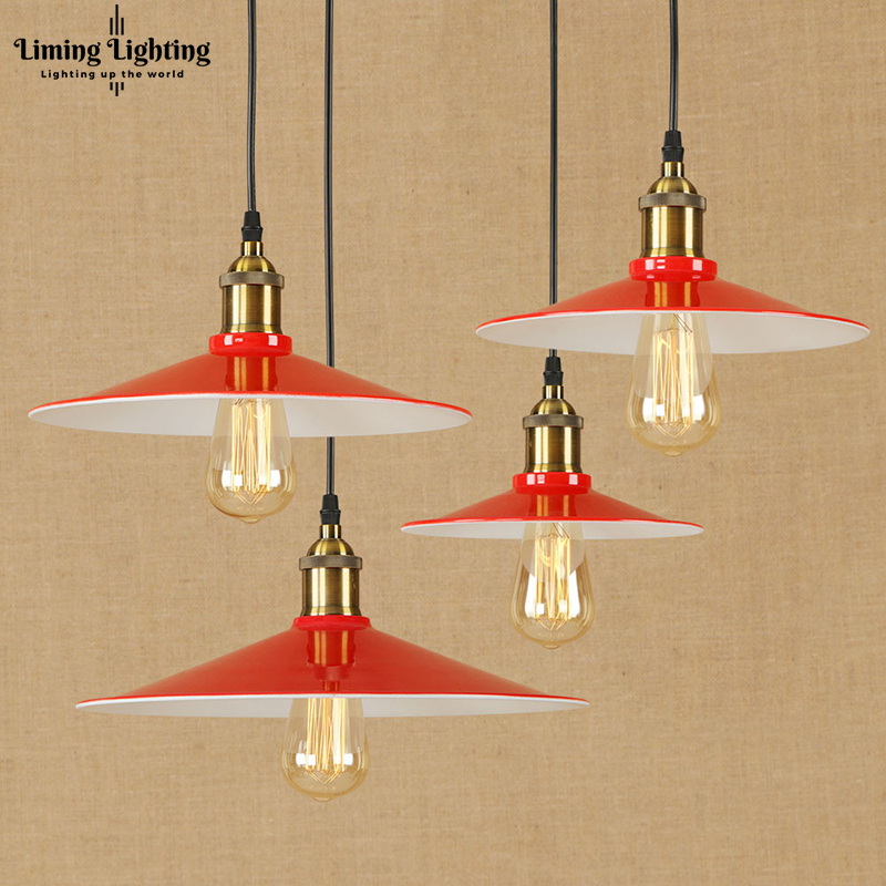 Modern LED Red Iron Pendant Lamp Vintage Hanging E27 Light Loft Style Bar/restaurant Living Room Bedroom Lighting Fixture 220v vintage colorful minimalist cement hanging pendant lamp 220v e27 led light with switch lighting fixture for hallway bar bedroom