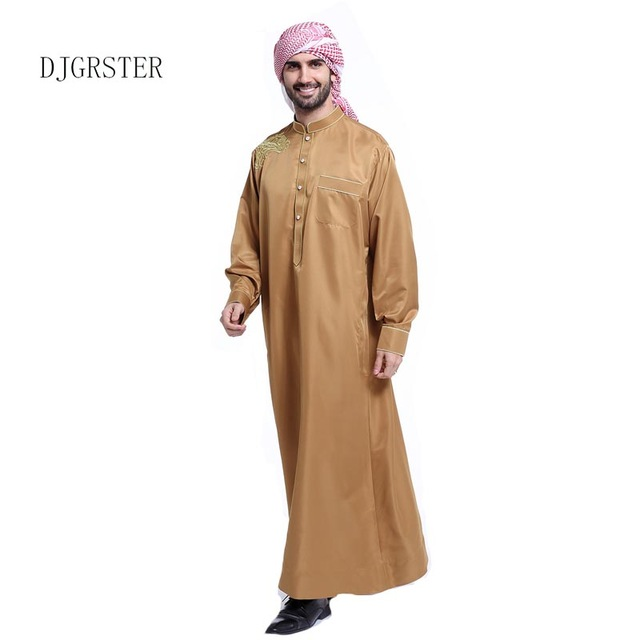 64176e66e30 DJGRSTER Arabic Robe Men Cotton Linen Long Robes Chinese Style Clothing  White Arab Clothing Loose Casual Male Islamic Clothing