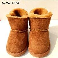 Novos Sapatos de Bebê Botas de Inverno U Pele De Lã Recém-nascidos Bebês Meninas Sapatinhos de Bebê da pele de Carneiro Genuína Botas De Couro Menino