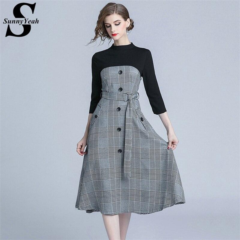 9f5edbb9fa0 SunnyYeah элегантное женское зимнее платье новое поступление 2018 модное осеннее  миди вечерние платье офисные женские платья