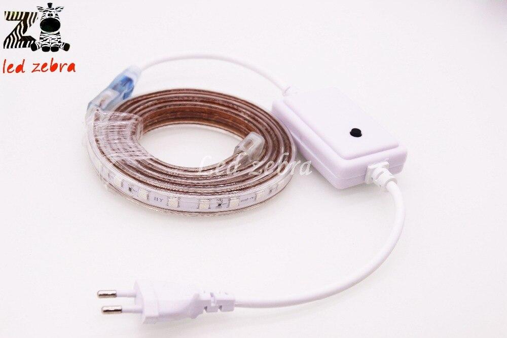 50 m/100 m rgb led bande 5050 smd lumière flexible, AC 220 V course de chevaux 60led/m lampes led avec prise 16 modes de changement, étanche ip67