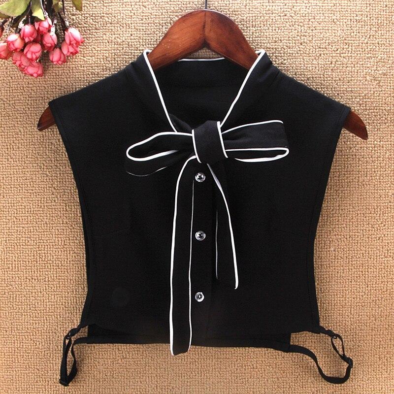 Home Pearl Button White Black Solid Women Fake Collar Removable Half Shirt Original Retro Chiffon Kraagje Nep Dames Shirt Vest Tie