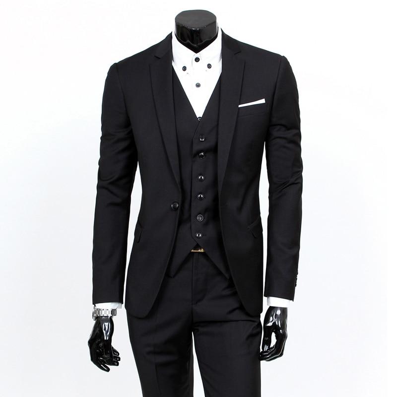 3 Pieces Sets Blazers Jacket Pants Vest Suits / Boutique Men's Casual Business Wedding Groom Suit Coat Trousers Waistcoat 1